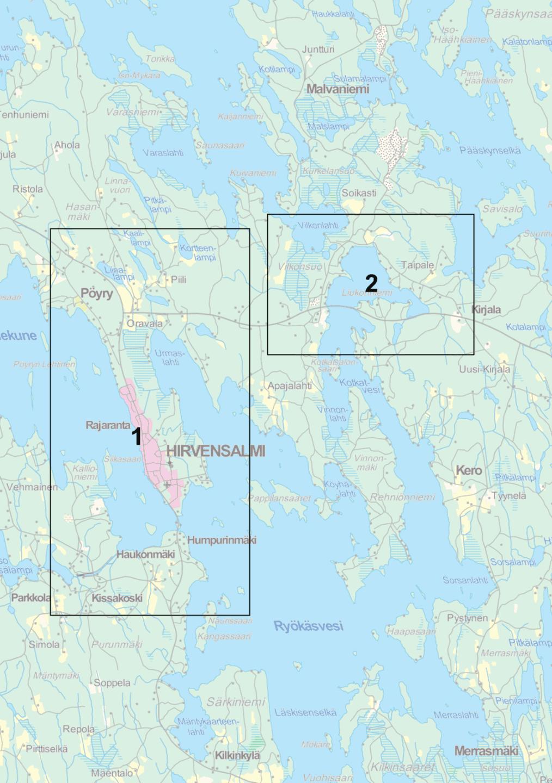 Kirkonkylä osayleiskaava kartta