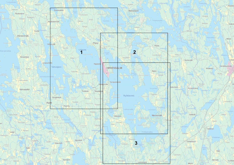 Liekune-Ryökäsvesi kartta