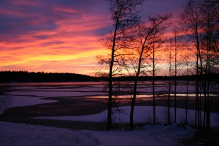 winter evening in lake Liekune